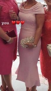 dress,pink,midi dress,pearl