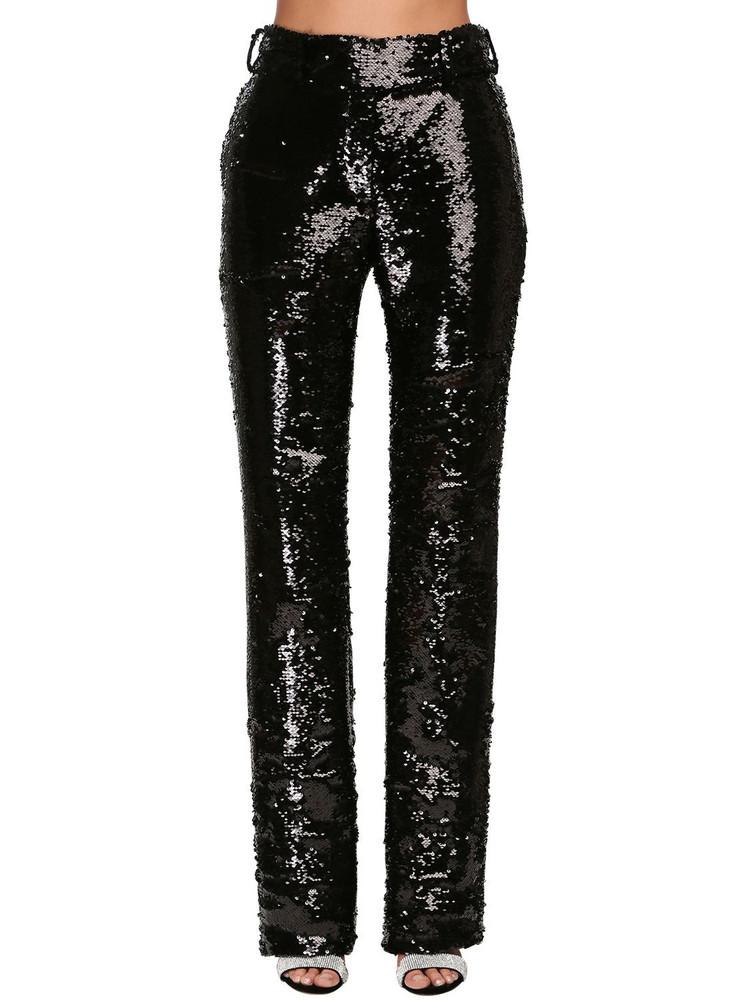 ALEXANDRE VAUTHIER Sequined Straight Leg Pants in black