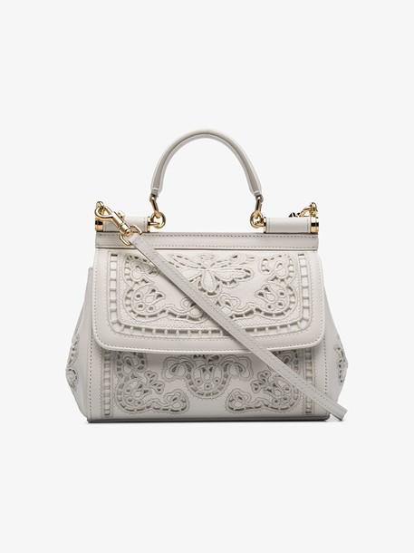 Dolce & Gabbana white Sicily mini flower embroidered leather shoulder bag