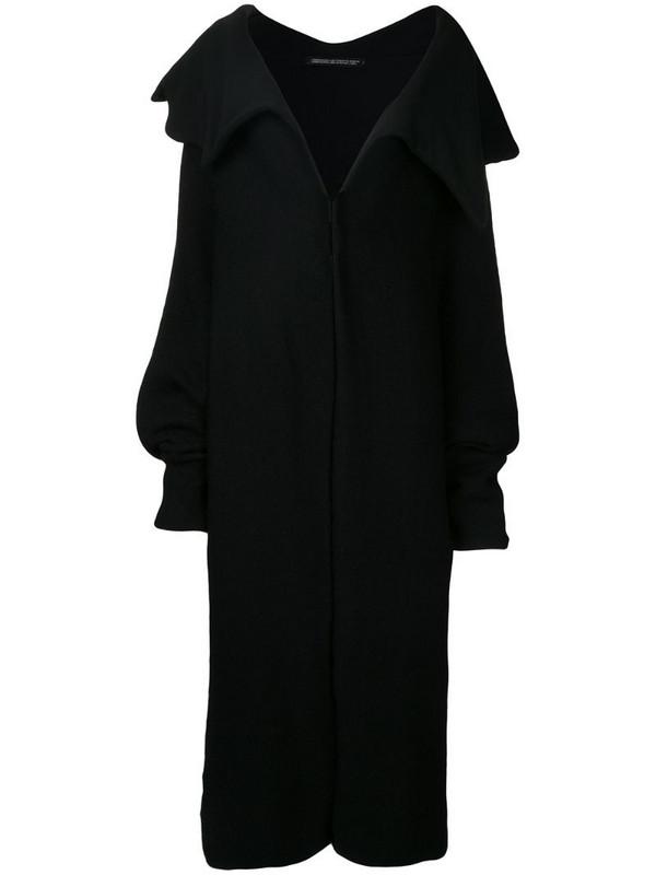 Yohji Yamamoto Pre-Owned fold-over neck coat in black