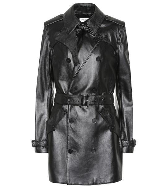 Saint Laurent Leather trench coat in black