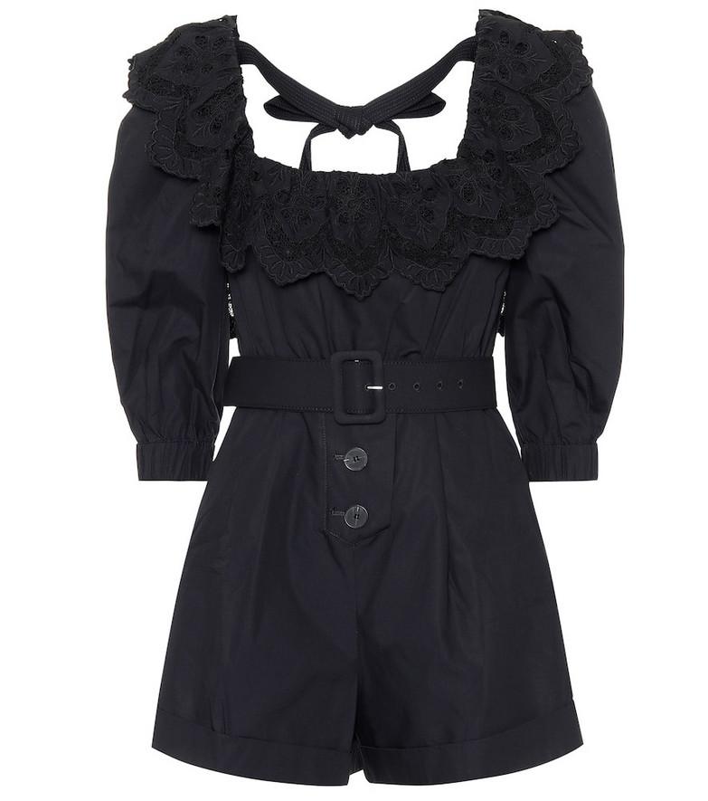 Self-Portrait Lace-trimmed cotton-poplin playsuit in black