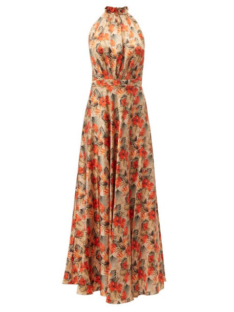 Raquel Diniz - Giovanna Floral Print Silk Dress - Womens - Nude Multi