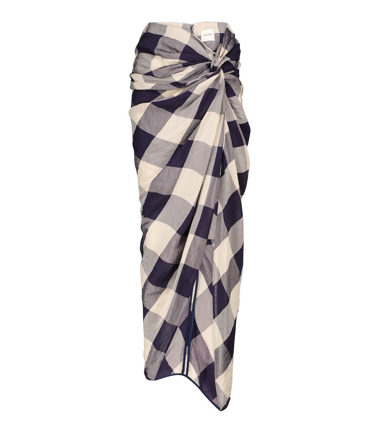 KHAITE Louie checked midi skirt in blue