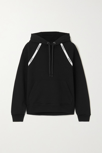 BURBERRY - Jacquard-trimmed Cotton-jersey Hoodie - Black