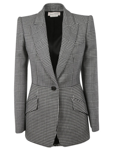 Alexander McQueen Checked Blazer in black / ivory