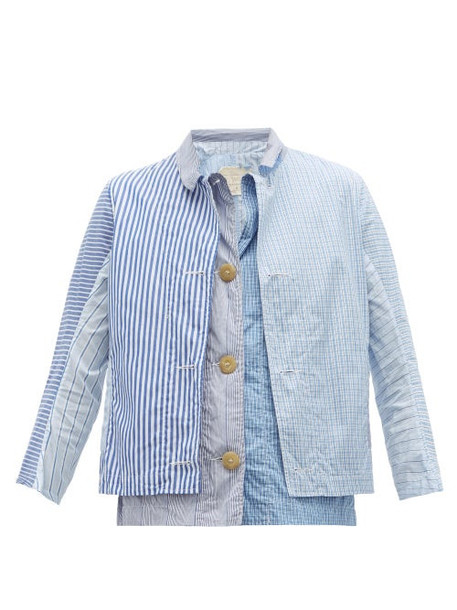 By Walid - Patchworked Cotton Poplin Shirt - Womens - Blue Multi