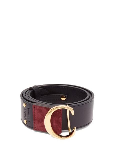 Chloé Chloé - Monogram Buckle Leather Belt - Womens - Navy