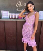 dress,purple,pink,olivia culpo,celebrity,blogger,lace dress,lace,instagram,coachella