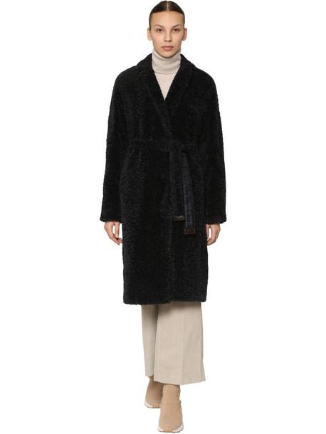 MAX MARA 'S Belted Faux Fur Coat in blue