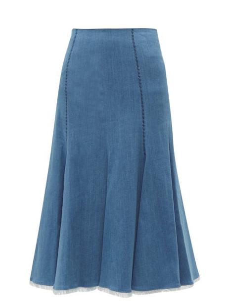 Gabriela Hearst - Amy Fluted Denim Midi Skirt - Womens - Denim
