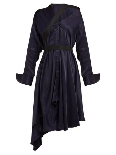Palmer/harding Palmer//harding - Heathers Off The Shoulder Asymmetric Twill Dress - Womens - Navy Multi