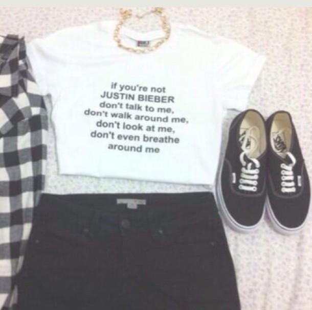 t-shirt justin bieber crop tops