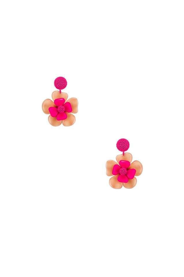 Sachin & Babi Horn Flower Earrings in pink