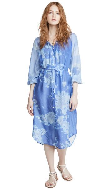 Raquel Allegra Poet Combo Dress in blue