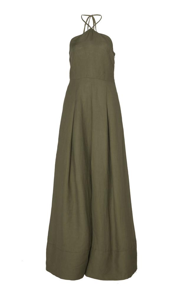 Cult Gaia Yasmina Pintucked Linen Flared Jumpsuit in green