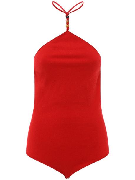 BOTTEGA VENETA Back Knots Cashmere Knit Bodysuit in red