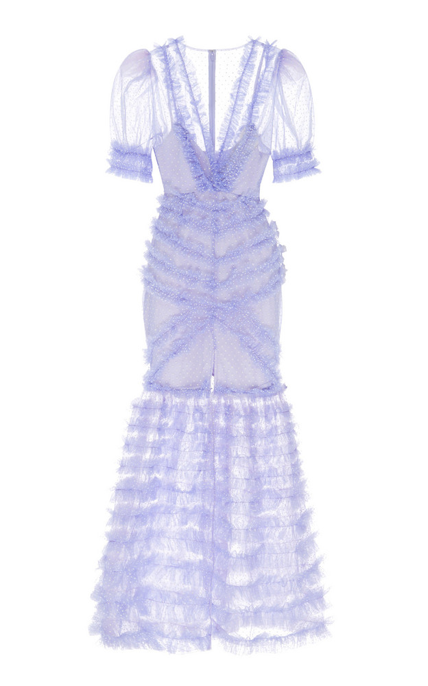 Alice McCall Tokyo Skies Tiered Mesh Gown Size: 6 in purple