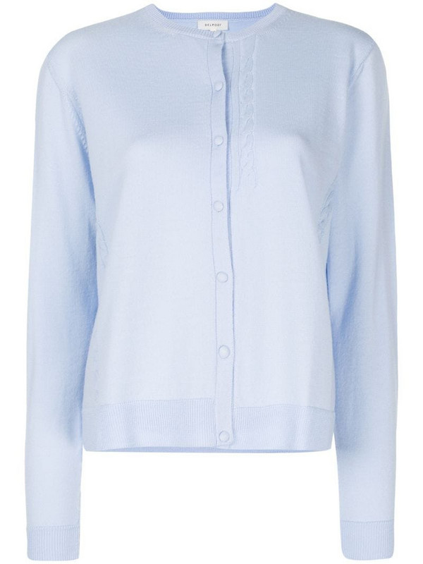 Delpozo cable-knit detail cardigan in blue