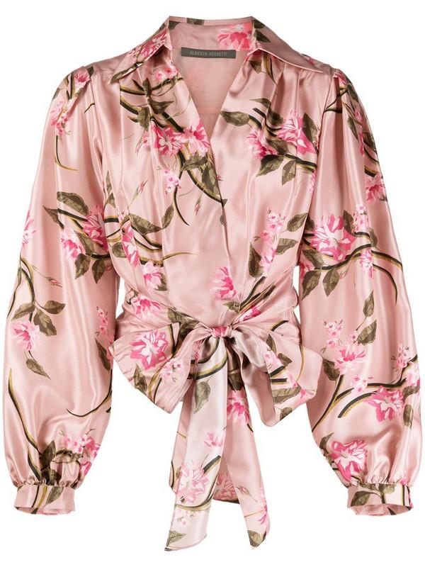 Alberta Ferretti floral print silk blouse in pink