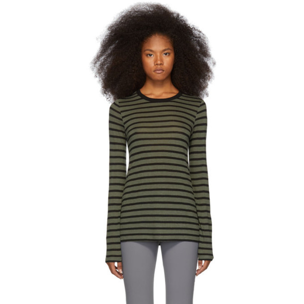 alexanderwang.t Khaki Striped Slub Long Sleeve T-Shirt