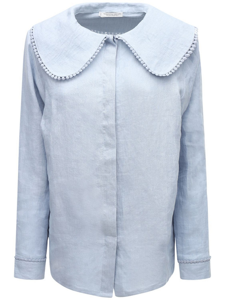 UNDERPROTECTION Caroline Organic Linen Pajama Shirt in blue