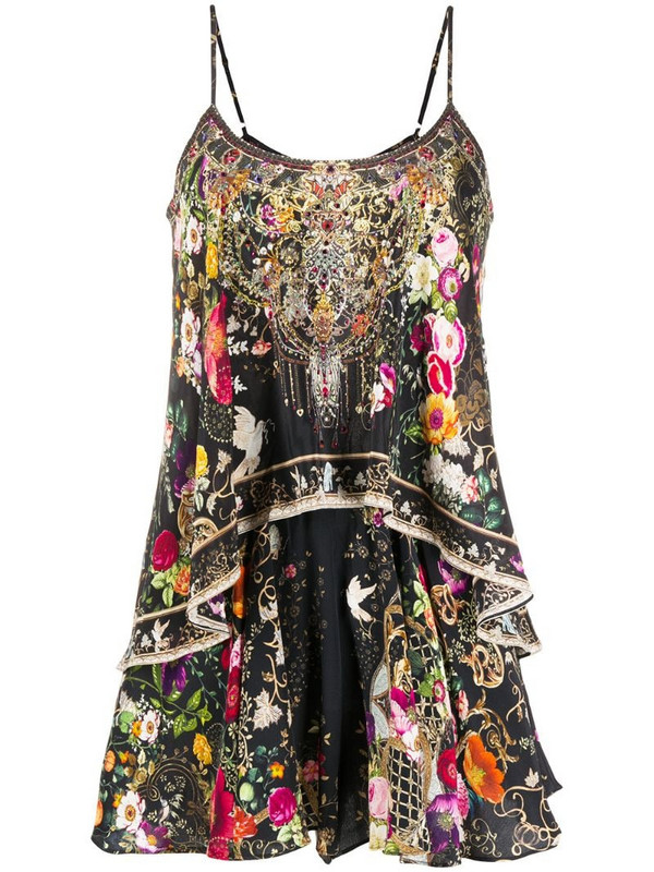 Camilla floral ruffle flared silk playsuit in black