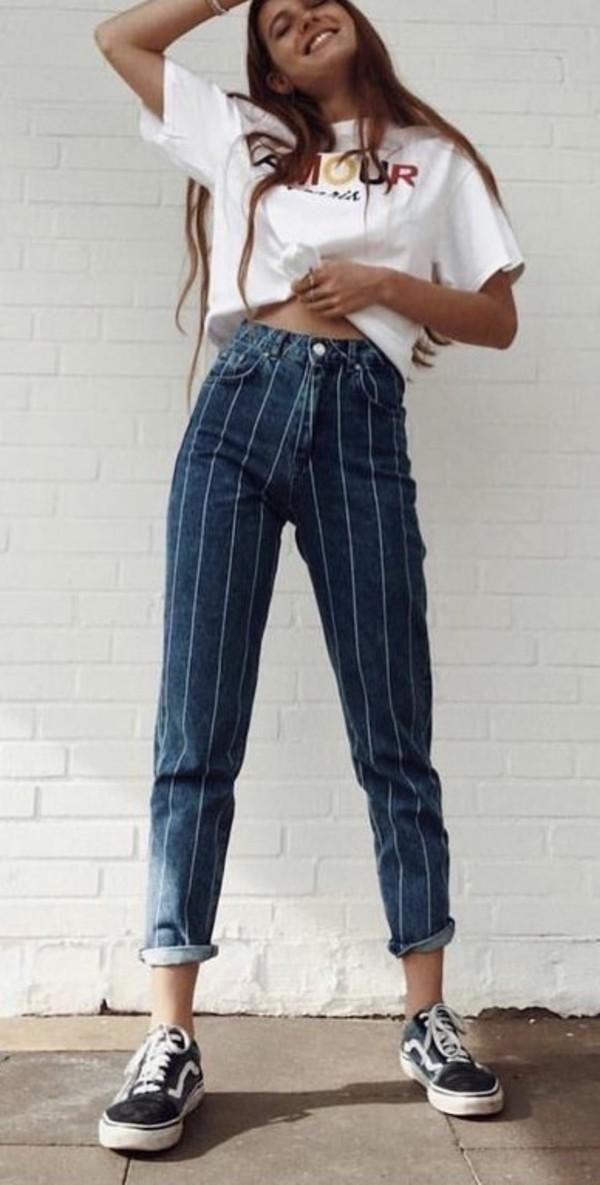 jeans blue striped jeans