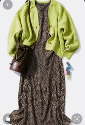 dress,brown,animal print,leopard print,midi dress,sweater,knitted cardigan,button cardigan,lime,knitted sweater