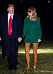 pants,green,melania trump,celebrity,coat,fall outfits,fall colors,leather pants,first lady outfits