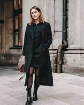 coat,long coat,black coat,black boots,tights,black dress,mini dress,bag