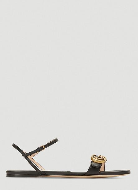 Gucci Marmont Flat Sandals in Black size EU - 38