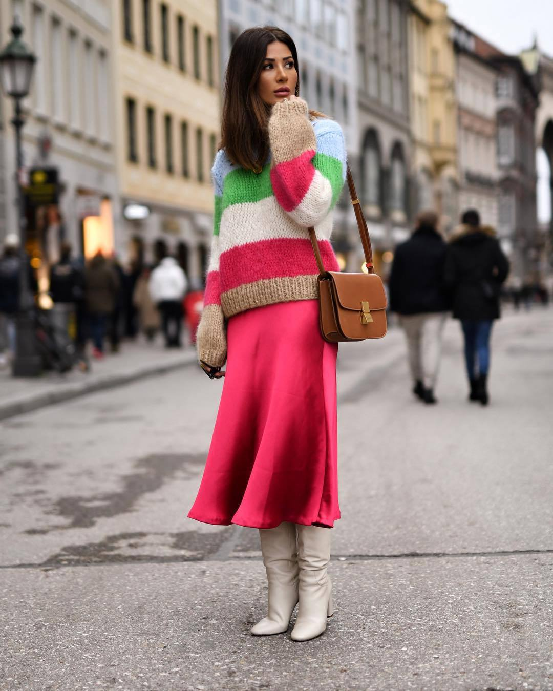 sweater knitted sweater mohair stripes midi skirt pink skirt zara white boots heel boots brown bag shoulder bag