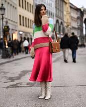 sweater,knitted sweater,mohair,stripes,midi skirt,pink skirt,zara,white boots,heel boots,brown bag,shoulder bag