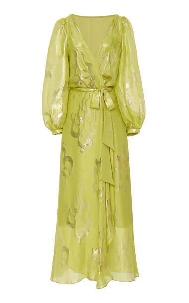 Temperley London Eda Metallic Print Silk-Blend Dress Size: 6