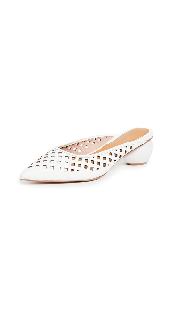 JAGGAR Caged Heel Mules in ivory