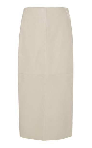 Brunello Cucinelli High-Waisted Leather Midi Pencil Skirt Size: 38