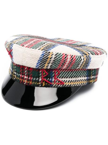 Ruslan Baginskiy checked baker boy hat in neutrals