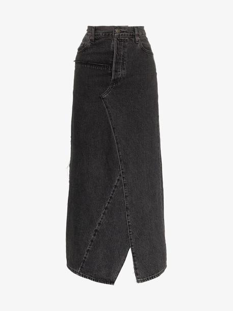 Vetements Asymmetric back slit denim maxi skirt