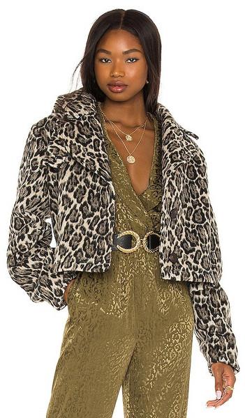 House of Harlow 1960 x REVOLVE Geneva Jacket in Tan in leopard