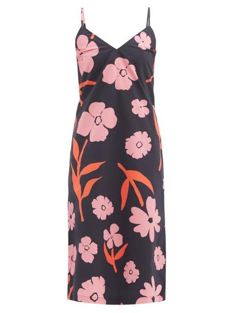 Cala De La Cruz - Rafaela Floral-print Cotton-poplin Midi Dress - Womens - Navy Multi