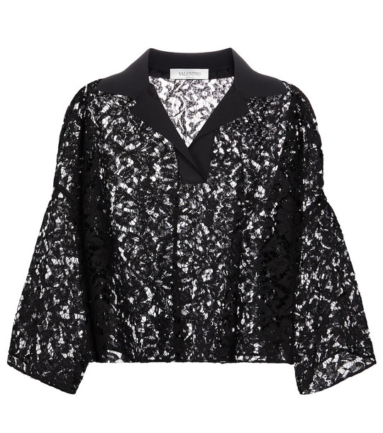 Valentino Cropped lace shirt in black