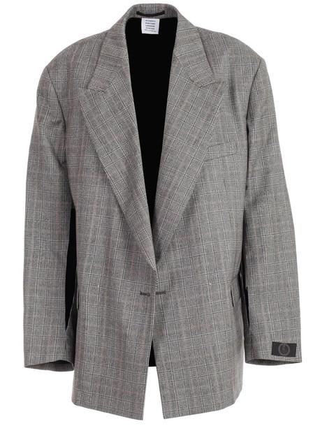 VETEMENTS Open Sleeve Jacket in grey / beige