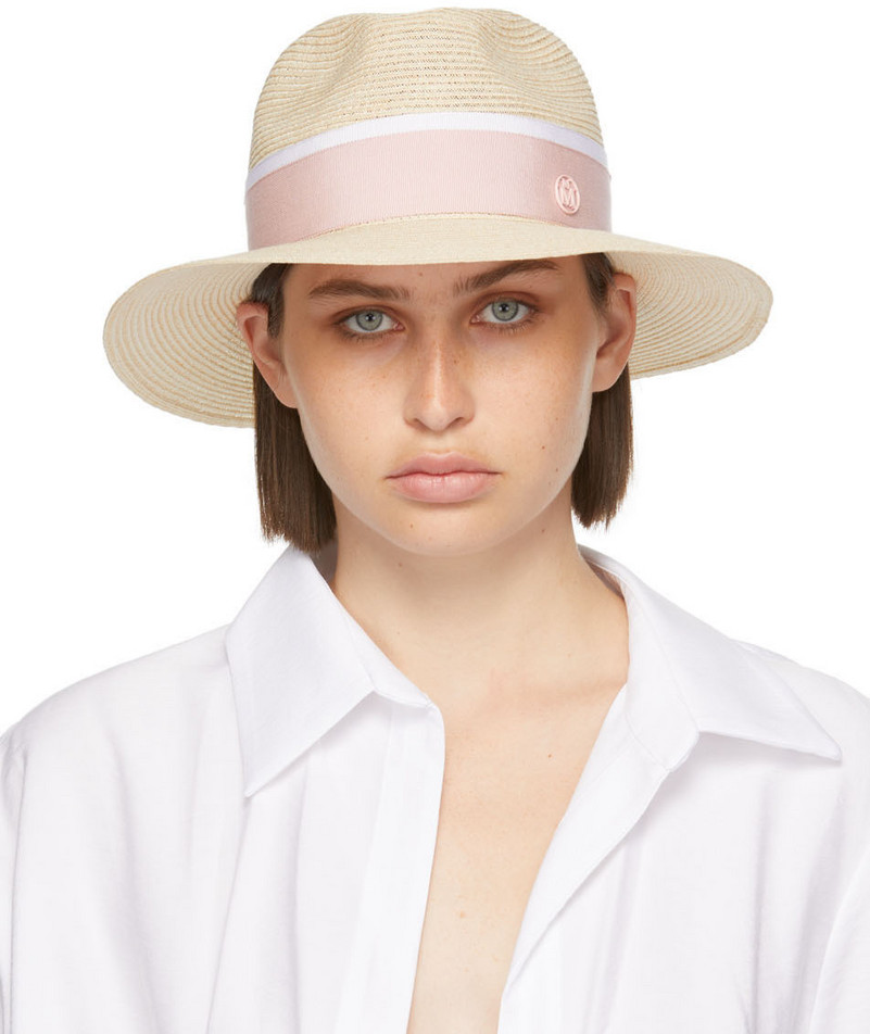 Maison Michel Beige Straw Henrietta Hat in natural / pink