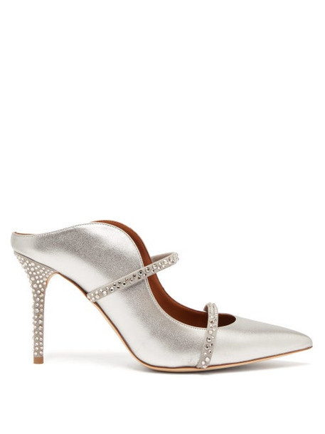 Malone Souliers - Maureen Crystal Embellished Leather Mules - Womens - Silver