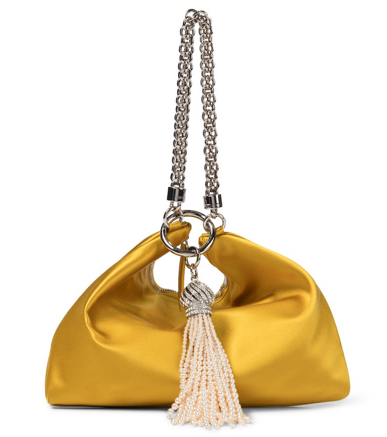 Jimmy Choo Callie embellished satin clutch in yellow
