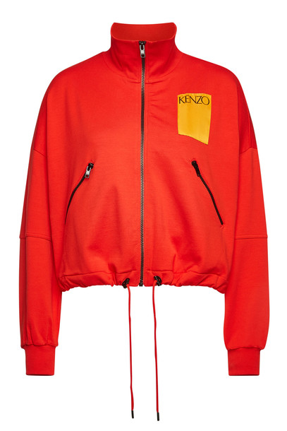 Kenzo Logo Cotton Jacket  in red