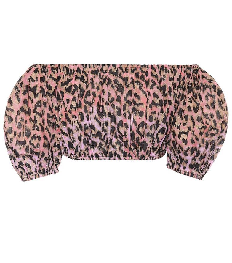 Juliet Dunn Leopard-print cotton crop top
