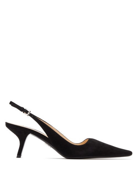 Prada - Squared Point Toe Slingback Suede Pumps - Womens - Black