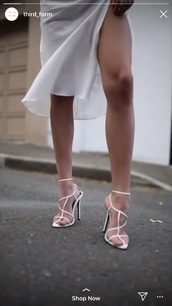 shoes,white,strappy heels,leather,dainty